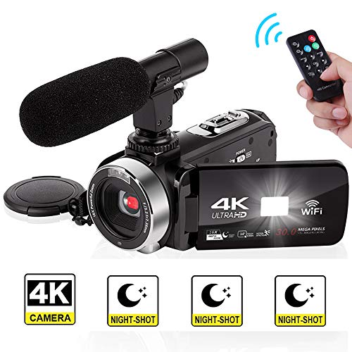 Camcorder 4K Video Camera Full HD 30.0MP Digital Camera Camcorders with External Microphone Wi-Fi Camcorder with Night Vision … (V4B) (V4B)