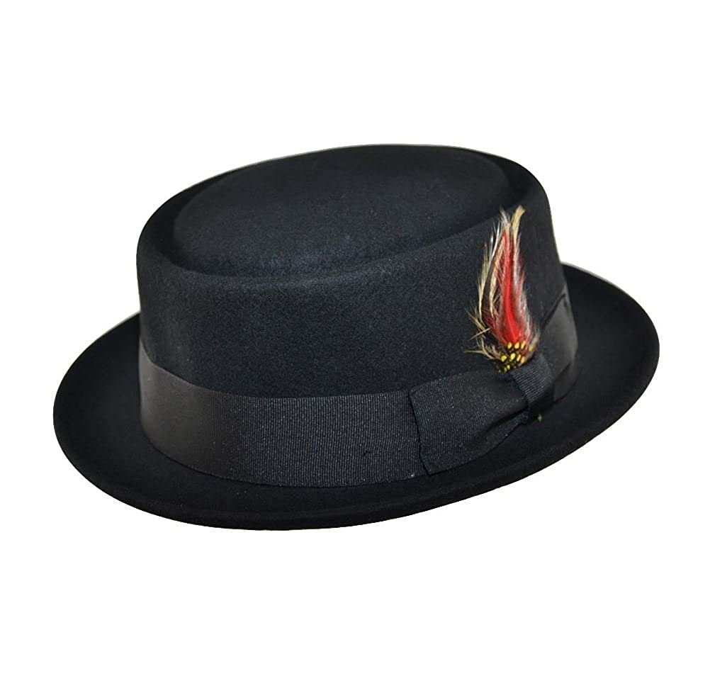 100% WOOL FELT PORK PIE HAT WITH RIBBON BAND AND FEATHER DETAIL Maz