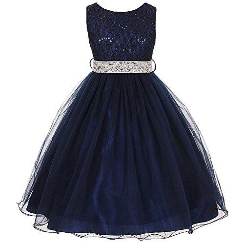 Little Girls Sleeveless Dress Glitters Sequined Bodice Double Layer Tulle Skirt Rhinestones Sash Flower Girl Dress Navy Blue / Silver Belt - Size 6]()