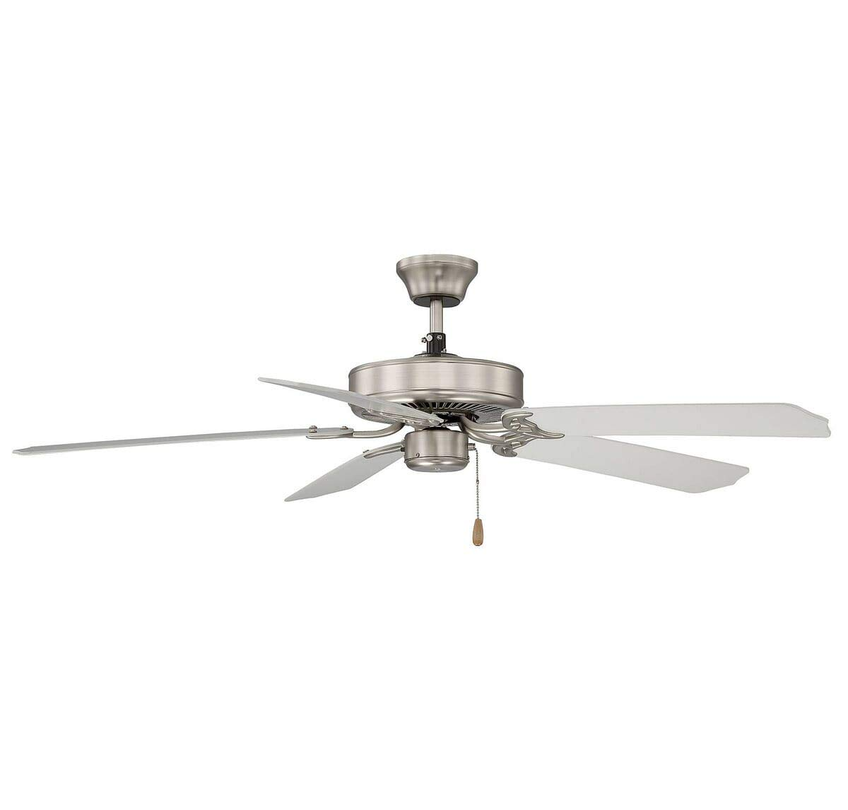 Savoy House 52-FAN-5W-SN Downrod Mount, 5 White Blades Ceiling fan, Satin Nickel