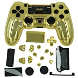 Shell for PS4 Controller - Cases for Playstation 4 Custom Dualshock 4 Shells Covers Full Housing - R1 R2 L1 L2 SOTX D-pad Thumbsticks Buttons Battery PS4 Accessories Parts Replacements - Chrome Golden
