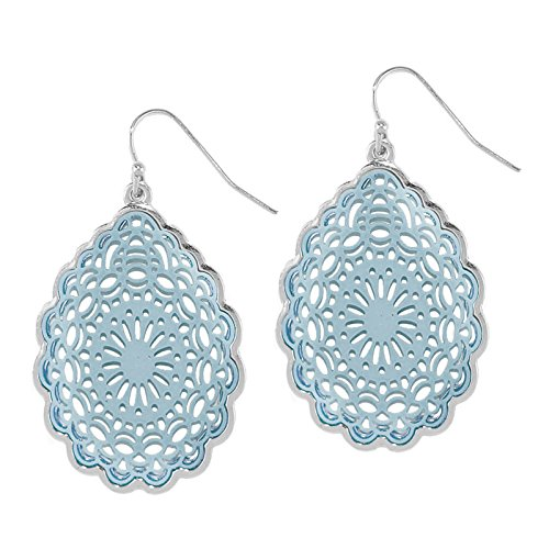 Pomina Coated Filigree Floral Drop Earrings (Blue)