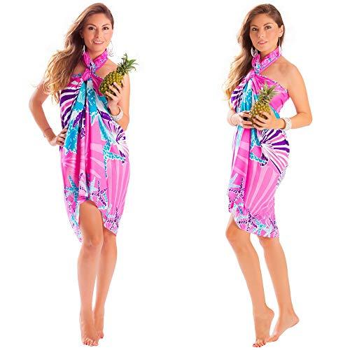 1 World Sarongs Sarong Kit w/Booklet; Seashell Fringeless Sarong in Pnk Pink
