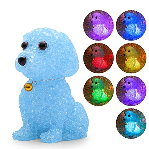 Color Baby Kids Night Light Cute Bell Dog Night Lights LED Lamp Colorful Cartoon Toy Birthday Gifts for Children Nursery Bedroom (Blue)