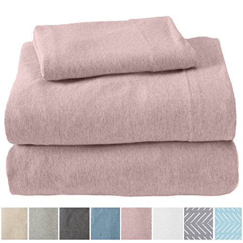 Great Bay Home Extra Soft Heather Jersey Knit (T-Shirt) Cotton Sheet Set. Soft, Comfortable, Cozy All-Season Bed Sheets. Carmen Collection Brand. (Twin, Rose - Sheet Set Bay