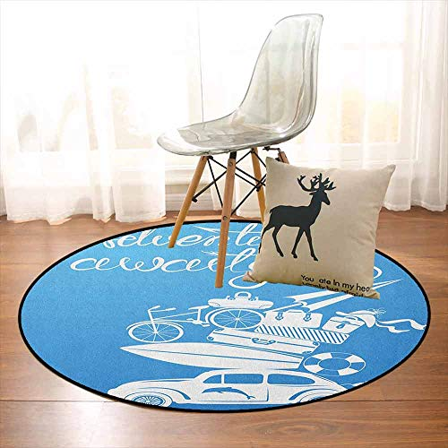 Adventure 3D Printed Round Carpet Adventure Awaits Quote with Summer Holiday Items Surfboard Old Car Art Print for Partial Areas D39.7 Inch Blue White
