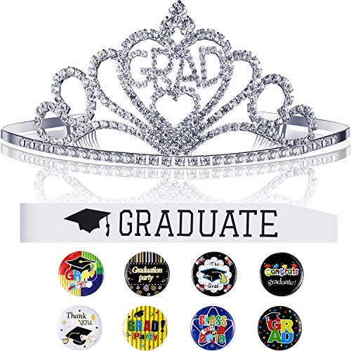 2019 Graduation Party Supplies Kits, Glittered Metal Graduation Princess Grad Crown Tiara and Graduated Sash and Graduation Button Pin, for Graduation Party Decorations Grad Decor Favors (White)