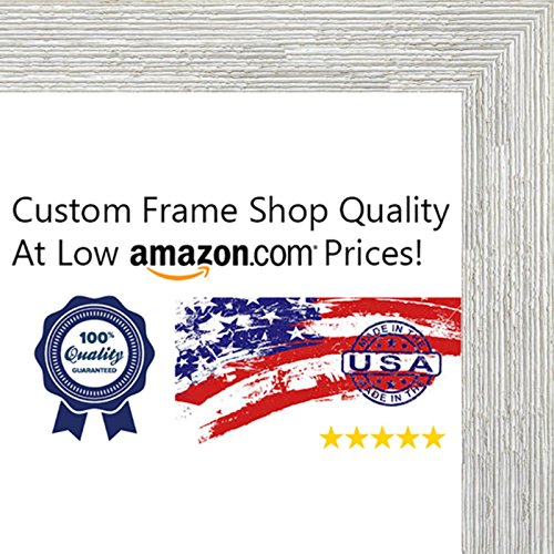 11x14 Distressed/Aged White Washed Wood Picture Frame - UV Acrylic, Foam Board Backing, & Hanging Hardware Included!