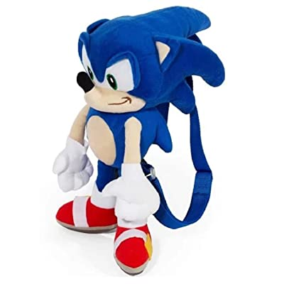 Sonic the Hedgehog Large Size Kids Plush Toy With Secret Zipper Pocket (17in): Toys & Games