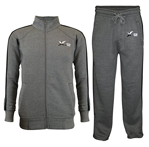X-2 Mens Athletic Full Zip Fleece Tracksuit Jogging Sweatsuit Activewear Gray S