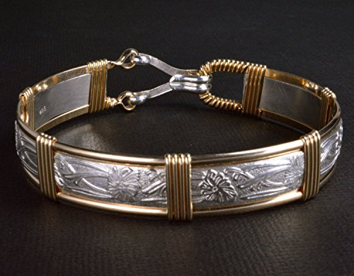 Made In Alaska Sterling Silver 14K Gold Filled Scrolling Iris Flower Patterned Wire Wrapped Bracelet 7'' Medium Size by Eclipse Designs Artisan Jewelry From Sitka, Alaska