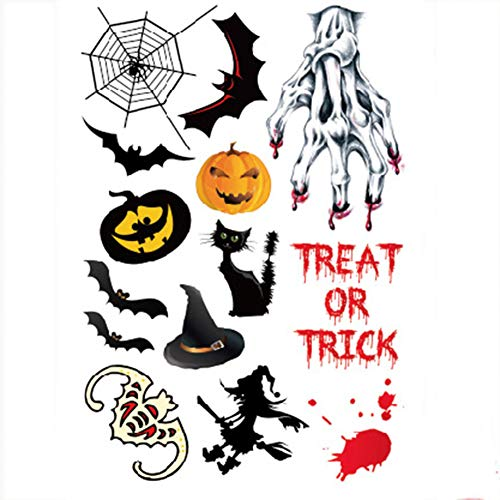 Halloween Tattoo Stickers 1pcs Halloween Temporary Tattoo Stickers It Including Bat, Cat, Pumpkin, Devil, Elf, Angel, Witch,spider Web, Skull Head,etc.