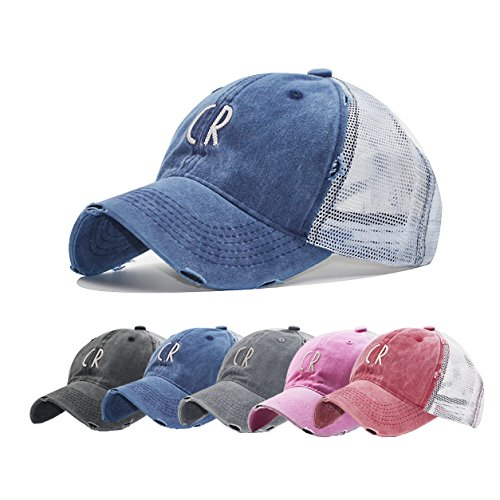 Guoo Vintage Washed Distressed Baseball Cap for Women Men Mesh Snap Back Ball Cap]()
