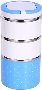 Aislamiento Caja de Almuerzo Térmica Contenedor de Almacenamiento de Alimentos de Acero Inoxidable Caja de Bento portátil con Mango Patrón de Punto Lindo 1/2/3 Capas (Color : Azul, tamaño : 1200ML)