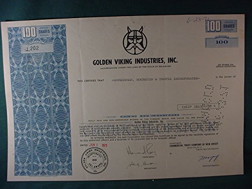 (Golden Viking Industries, Inc Cancelled Original Stock Certificate - 100 Shares Common Stock - Issued 1971)