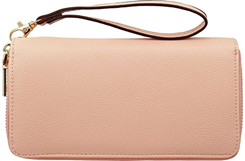 B BRENTANO Vegan Double-Zipper Wallet Clutch with Removable Wrist Strap ()