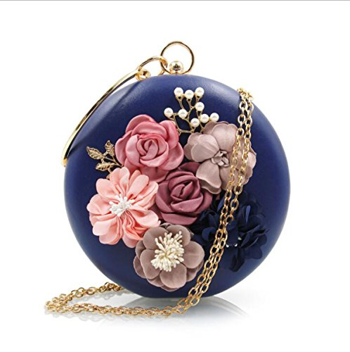 NBWE à Sacs Evening Bag main à Pearls Floral main Sacs d'embrayage Blue Embrayages Femme f6vYrf