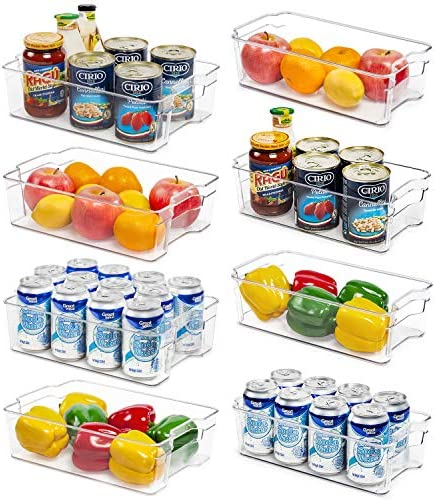 "Refrigerator Organizer Bins, Vtopmart 4 Large and four Medium Clear Plastic Fridge Organizers for Freezer, Cabinet, Countertops, Cupboard, Kitchen Pantry Organization and Storage, BPA Free, 12.5"" Long"