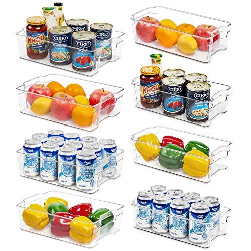 Refrigerator Organizer Bins, Vtopmart 4 Large and 4 Medium Clear Plastic Fridge Organizers for Freezer, Cabinet…