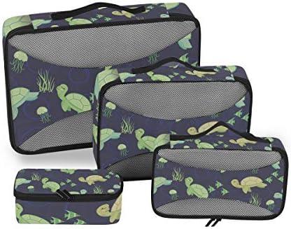 緑漫画ウミガメ荷物パッキングキューブオーガナイザートイレタリーランドリーストレージバッグポーチパックキューブ4さまざまなサイズセットトラベルキッズレディース