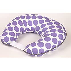 Bacati Ikat Zigzag Dots Muslin Nursing Pillow with Insert, Purple