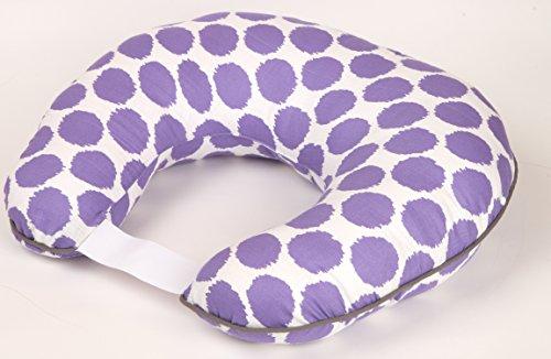 Bacati Ikat Zigzag Dots Muslin Nursing Pillow with Insert, Purple