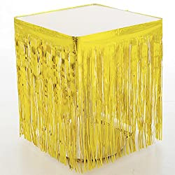 Bilipala Gold Fringe Table Skirt Metallic Foil Fringe,Tinsel Table Skirt,Gold Metallic Party Table Skirt(2-Pack Gold)