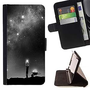 Momo Phone Case / Flip Funda de Cuero Case Cover - Dios Vía Láctea Estrellas significado profundo - Sony Xperia Z5 5.2 Inch (Not for Z5 Premium 5.5 Inch)