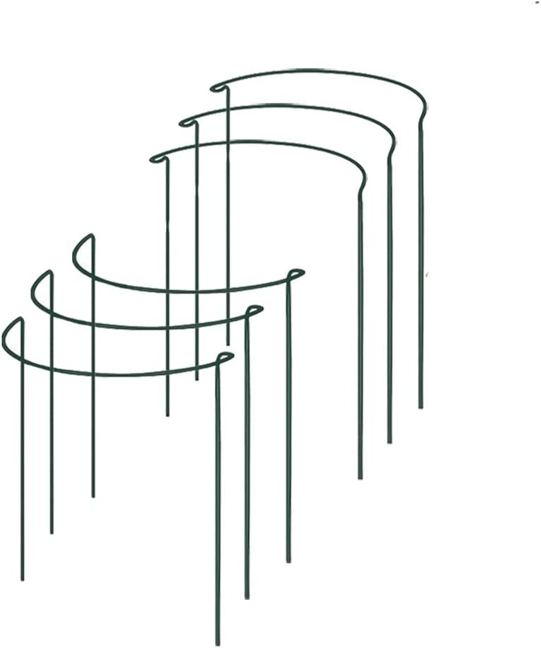 "6 Pack Half Round Garden Plant Support Ring Hoop, TANOKY Sturdy Metal Plant Support Stakes, Plant Support Ring Cage for Potted Plants, Tomato, Rose, Vine - 16"" High x 9.8"" Wide"