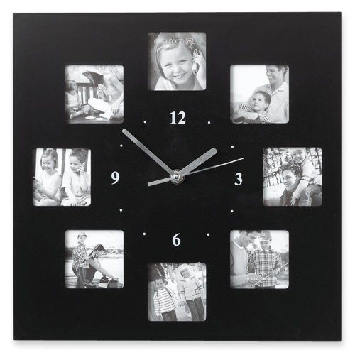 Amazon.com: Melannco Black 12 Inch Photo Collage Frame Wall Clock ...