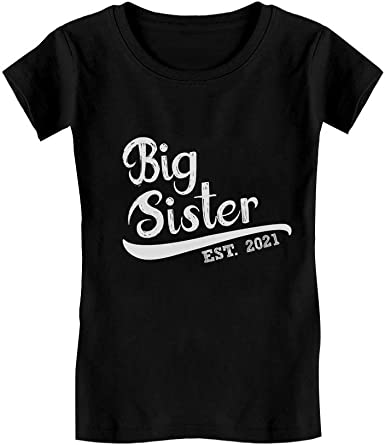 Big Sister 2021 Outfit Siblings Gift Infant Girls Fitted T-Shirt