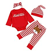 Christmas 4Pcs Outfit Set Baby Girls Boys My First Christmas Rompers(0-3 Months)
