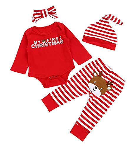 Christmas 4Pcs Outfit Set Baby Girls Boys My First Christmas Rompers(0-3 Months) Red]()
