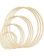 12 Pack Wooden Bamboo Floral Hoop Large Wooden Wreath Hoop Craft Rings Bamboo Circles Macrame Hoops Rings for DIY Dream Catcher, Wedding Wreath Decor, Wall Hanging Crafts(6/8/ 10/12 inch)