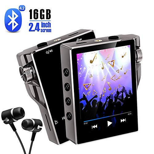 - MP3 Player with Bluetooth 16GB FM Radio HiFi Music Player High Resolution Lossless Digital Audio Walkman with Video E-Book Digital Recording SD Card Slot up to 128GB