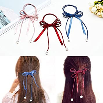Amazon.com   Japan and South Korea sweet fresh female hair band hand-woven  pearl bow tie hair rubber band hair ribbon long section of rope Rope for  women ... 70dfe62817b