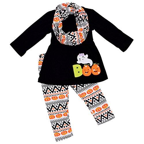 Unique Baby Girls 3 Piece Halloween Legging Set with Infiniti Scarf (8) - Girls Halloween Shirt