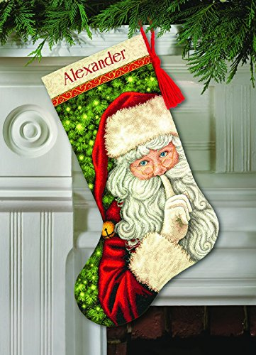 Dimensions Counted Cross Stitch 'Secret Santa' Personalized Christmas Stocking Kit, 18 Count Ivory Aida, 16''