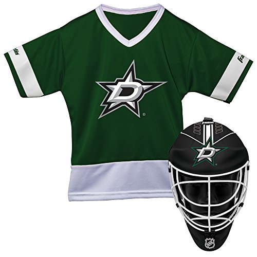 - Franklin Sports Dallas Stars Kid's Hockey Costume Set - Youth Jersey & Goalie Mask - Halloween Fan Outfit - NHL Official Licensed Product