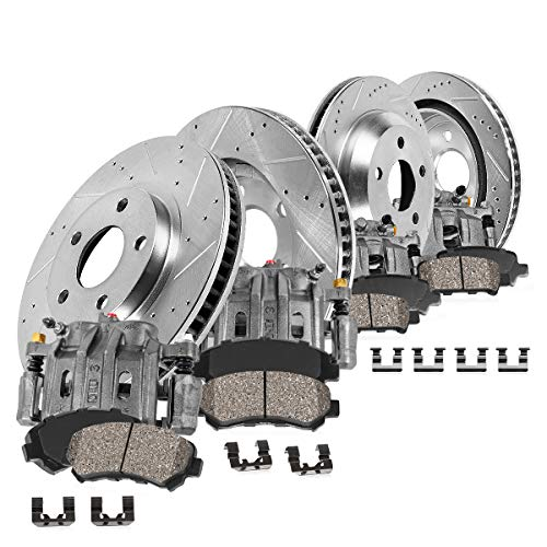 (CCK03000 FRONT + REAR [4] Loaded OE Calipers + [4] Drilled/Slotted Brake Rotors + Quiet Low Dust [8] Ceramic Pads Kit)