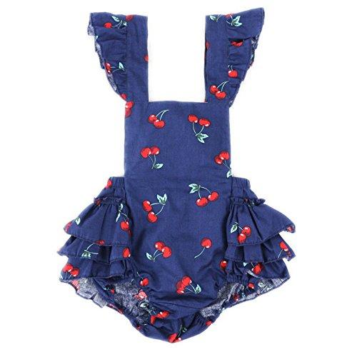 Wennikids Baby Girl's Summer Dress Clothing Ruffle Baby Romper X-Large Blue Cherry Design 04