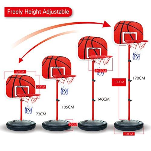 Basketball Stands, WOLFBUSH 73-170CM Basketball Stands Height Adjustable Kids Basketball Goal Hoop Toy Set - Black + Red