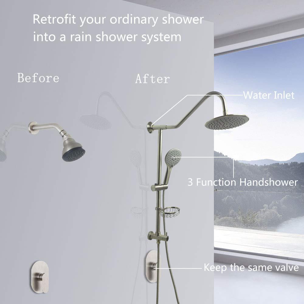 Retrofit Rain Shower System with Adjustable Handshower and Slide Bar,Bathroom Shower Spa Combo Fixtures,Brushed Nickel Finish,HAOXIN,J450-BN LongXiang