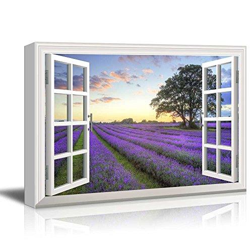 Creative Window View Sunrise on a Purple Filed