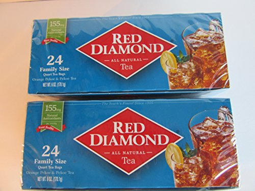 Tea Decaffeinated Tea Red - Red Diamond Tea All Natural 2-24ct Boxes Family Size Pekoe Antioxidants