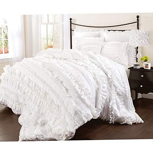 Hemau Premium New Soft Belle 3 Piece Ruffled Shabby Chic White Comforter Set with Bed Skirt and Pillow Sham Twin XL | Style 503196064