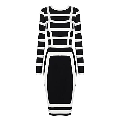 HLBandage Long Sleeve Midi Rayon Bodycon Striped Bandage Dress