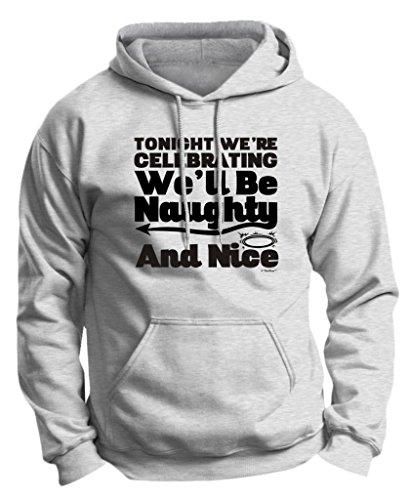 Celebrating Naughty and Nice, Bachelor Bachelorette Premium Hoodie Sweatshirt Large Ash