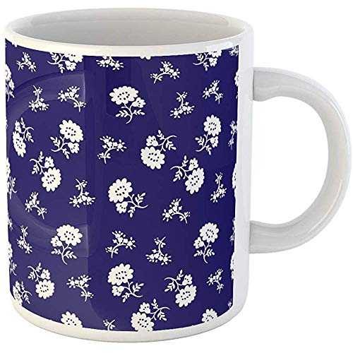Liberty Blue Dinnerware - 11oz Coffee Mugs Tea Cups Gifts Liberty Tiny Flowers Blue and White Pattern Floral Ditsy Ceramic Coffee Mugs Tea Cup Souvenir