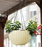 YOUNG CRAFTS Hanging Planters Plastic Pots with Hanging Chains (Pack of 3) White Color